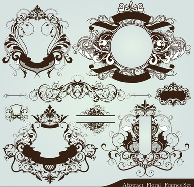 label design elements classical elegant symmetrical curves