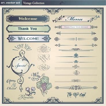 menu decor elements elegant european vintage design