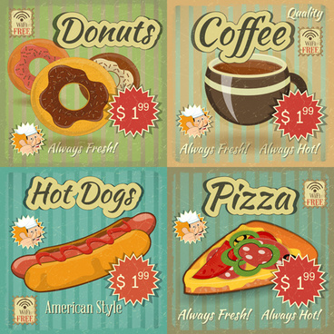 vintage fast food poster vector graphics