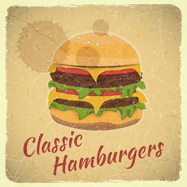 vintage fast food with menu vector