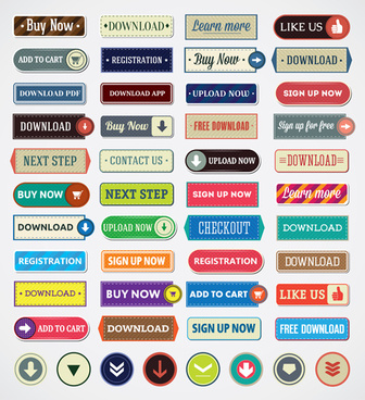 vintage flat web buttons vectors set
