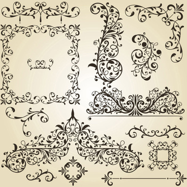 vintage floral accessories and borders vector