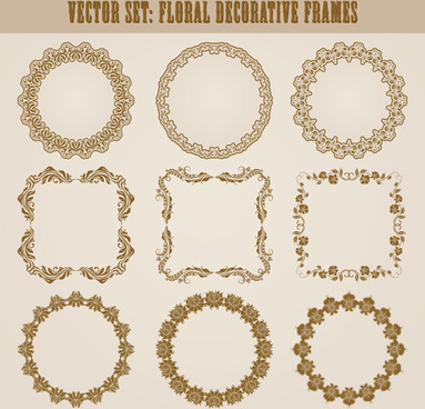 vintage floral decorative frames vector