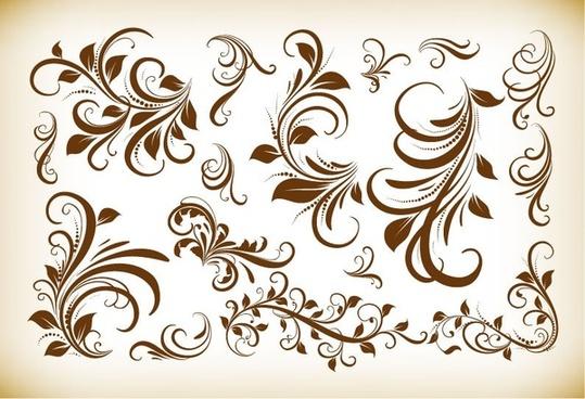 vintage floral design elements vector illustration collection