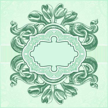 vintage floral invitations vector