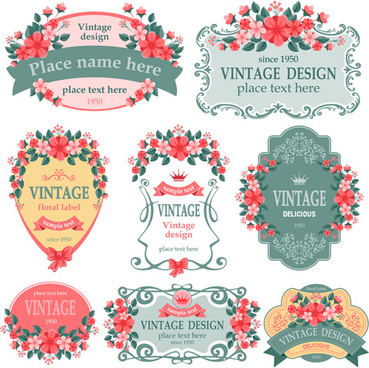 vintage floral labels vector graphics