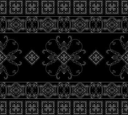 vintage floral ornate with black background vector