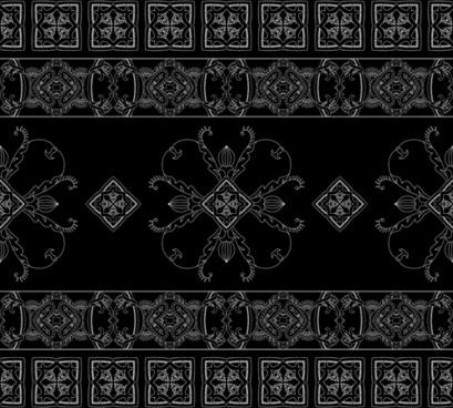 vintage floral ornate with black background vector