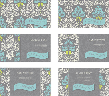 vintage floral pattern business cards vector