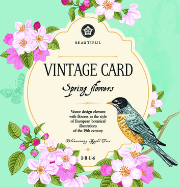 vintage flower and bird card vector graphics