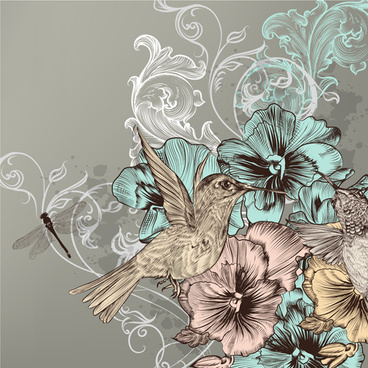 vintage flower and birds background art vector