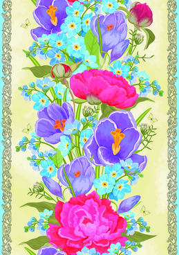 vintage flower and frames vector