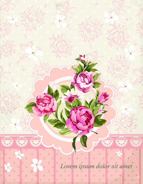 vintage flower congratulation cards vector