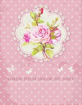 vintage flower congratulation cards vector