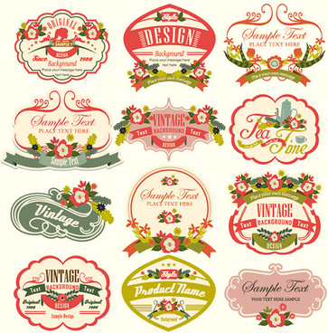 vintage flower creative labels vector