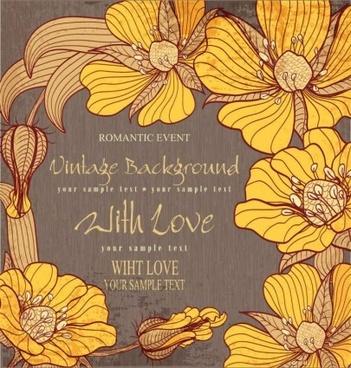 vintage flower hand drawing background vector