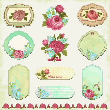 vintage flower labels vector