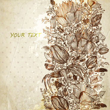 vintage flower of background vector