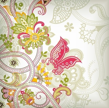 Vintage Flower Pattern Background Vector Art