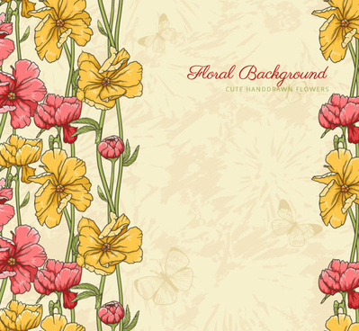 vintage flower vector background art