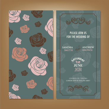 vintage flower wedding invitation cards vector