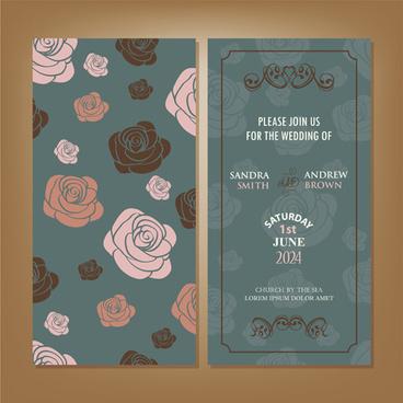 vintage flower wedding invitation cards vector