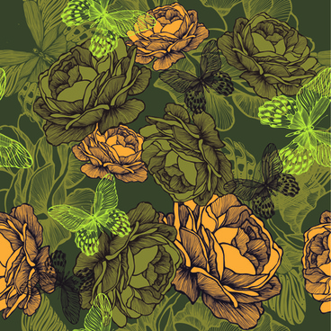 vintage flower with butterfly seamless pattern vector