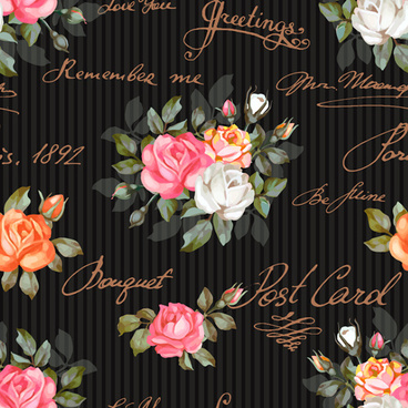 vintage flowers patterns vector seamless design