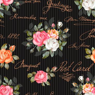 vintage flowers patterns vector seamless design