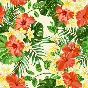 vintage flowers vectors seamless pattern