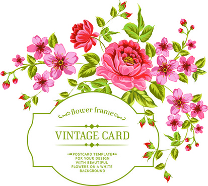 vintage flowers with frame card vector