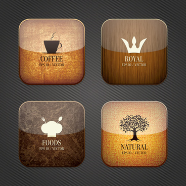 vintage food and drink application icons
