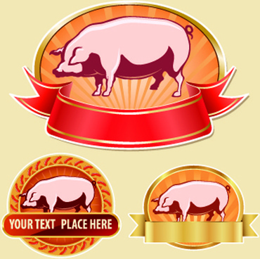 vintage food labels vectors