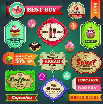 vintage food logo with labels vector