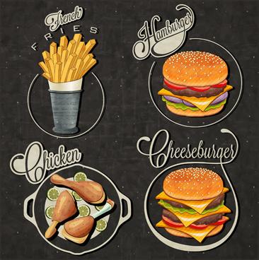 vintage food logos vectors