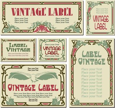 vintage frame colored labels vector