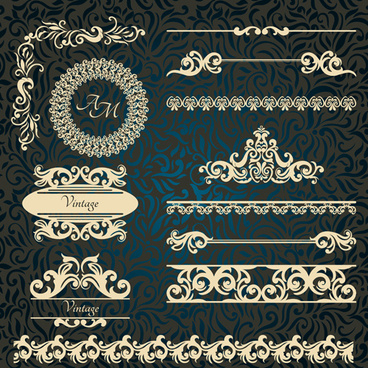 vintage frame with border and ornaments design vectors