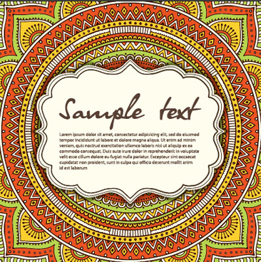 vintage frame with ethnic pattern vector backgrounds