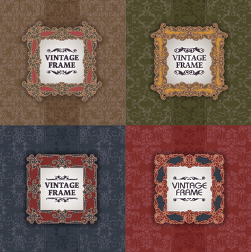 vintage frame with pattern vector background