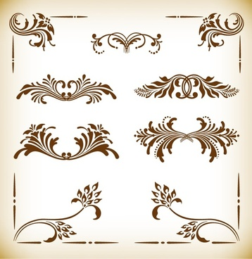 vintage frames and scroll elements vector illustration