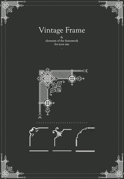 vintage frames decor elements vector set