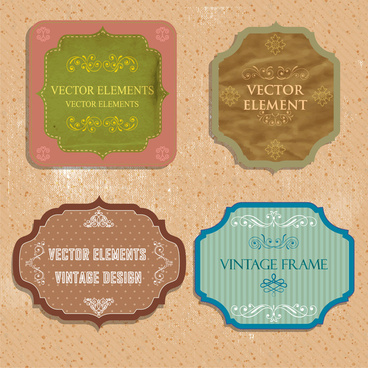 vintage frames design sets vector illustration
