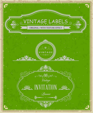 vintage frames labels and banner on green background