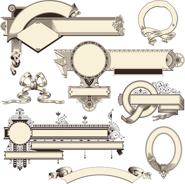 vintage frames ornaments with ribbon vector