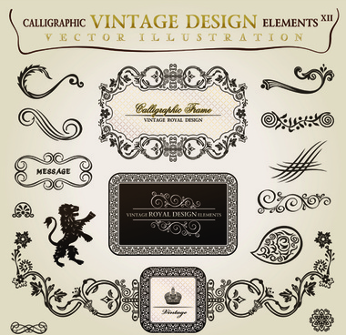 vintage frames with ornaments design elements vector