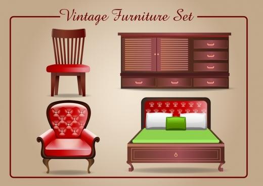 vintage furniture icons shiny 3d design
