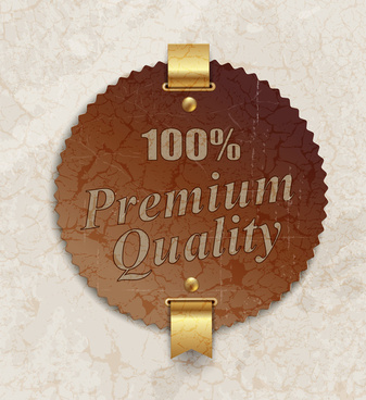vintage gold premium quality badge granite background