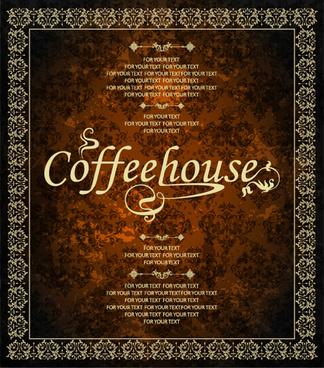 vintage golden coffee house menu design vector