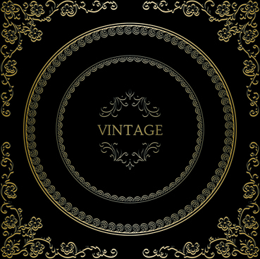 vintage golden decorative frame vector