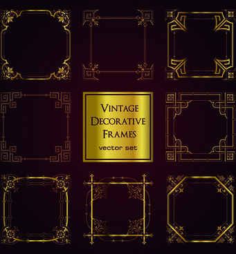 vintage golden decorative frames vector